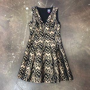 Vince Camuto Gold Black Metallic Dress Size 8